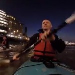Kayaking through London at night on the River Thames