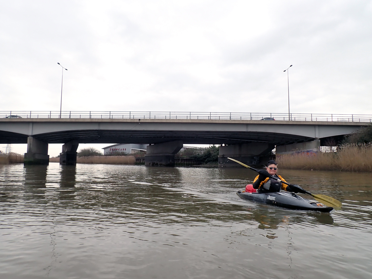 Kayaking under the A13 on Barking Creek